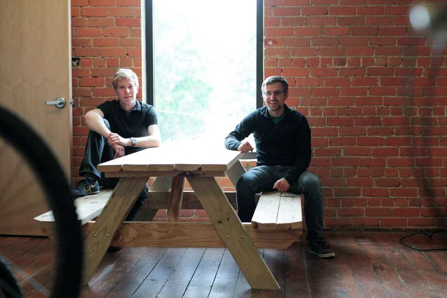 Jesse Vollmar, left, and Brad Koch founded the app FarmLogs which is used worldwide. Photo: Tim Galloway /New York Times / NYTNS