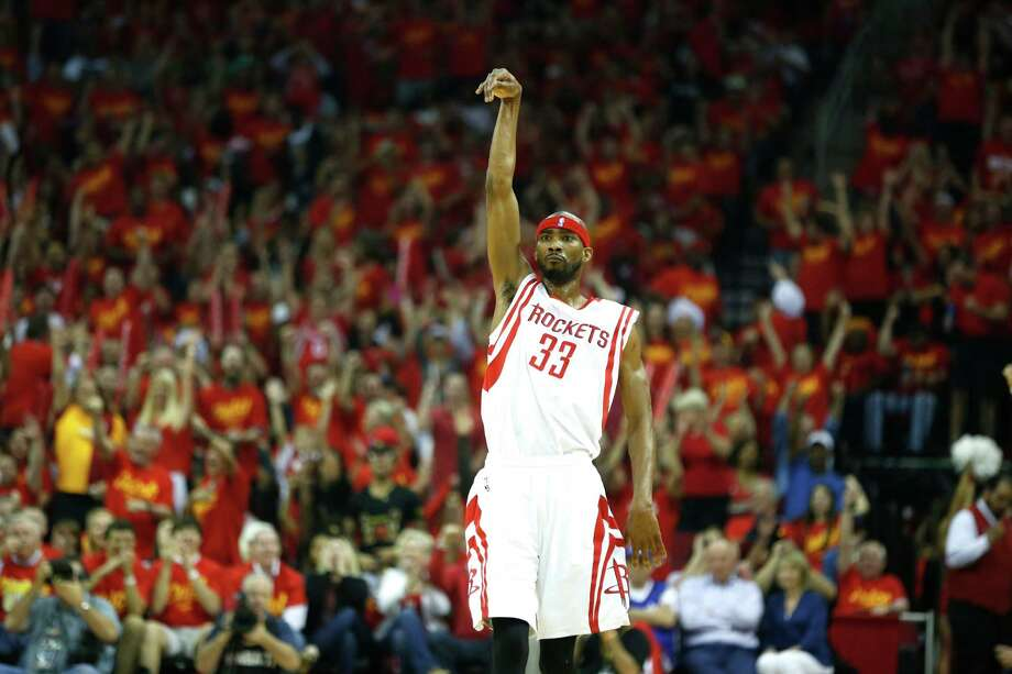 Houston Rockets guard Corey Brewer (33) reacts to hitting a shot against the Los Angeles Clippers during the second quarter of Game 7 of the NBA Western Conference semifinals at the Toyota Center Sunday, May 17, 2015, in Houston.  ( James Nielsen / Houston Chronicle ) Photo: James Nielsen, Staff / © 2015  Houston Chronicle