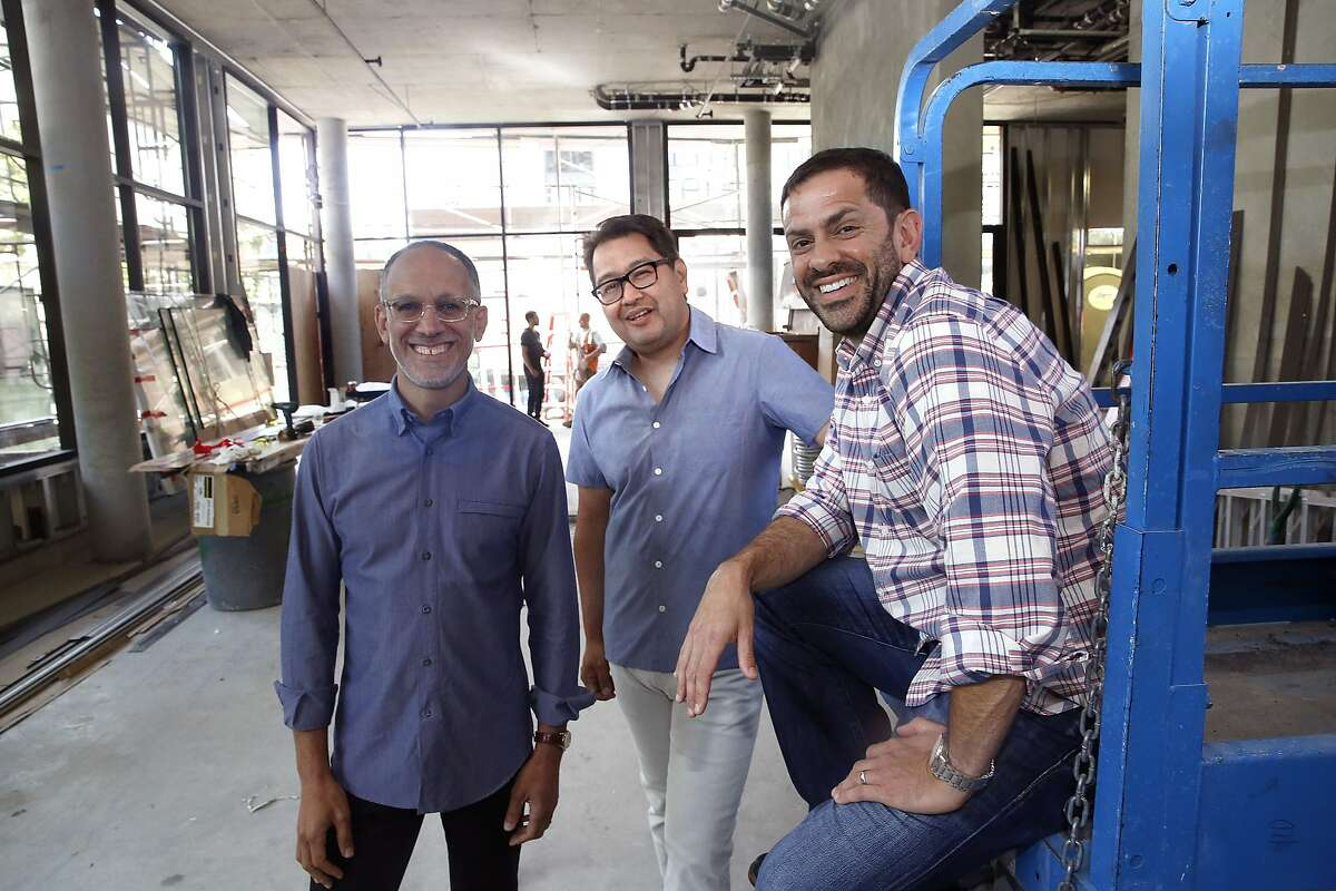 Founder Eric Lilavois (left), chef Dave Cruz (middle), and CFO John DiFazio (right), show the beginnings of their new restaurant in San Francisco, Calif., on Monday, June 29, 2015.