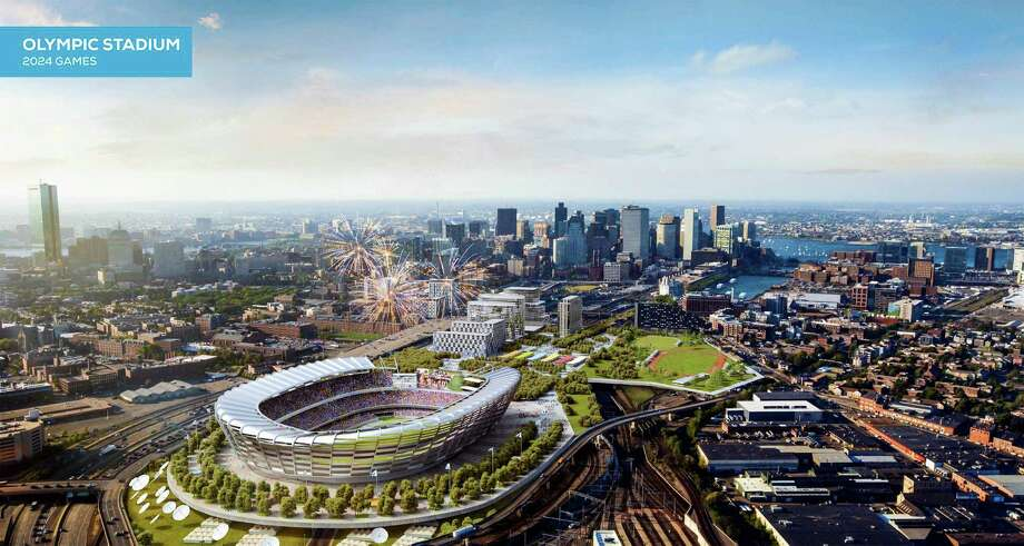 A rendering released this week by Boston organizers shows the stadium that is proposed to be built if the city is awarded the Summer Olympics in 2024. Photo: Elkus Manfredi Architects, HONS / Boston 2024
