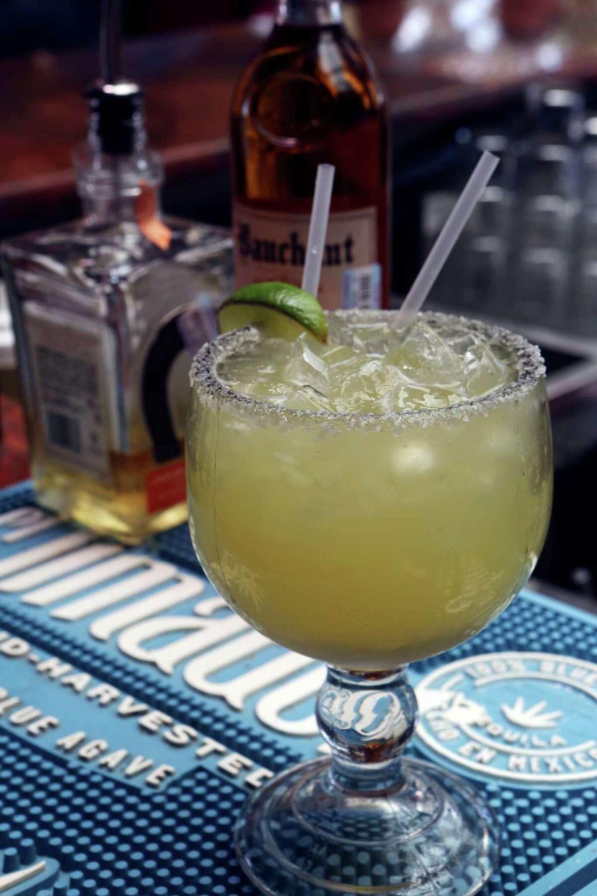 The margarita at La Tequilera del Patrón includes lime juice, orange juice, agave nectar, tequila, and orange liqueur.