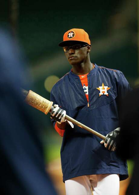 Daz Cameron, the 37th pick in the draft, prepares to take batting practice with the Astros on Tuesday. Photo: Karen Warren, Staff / © 2015 Houston Chronicle