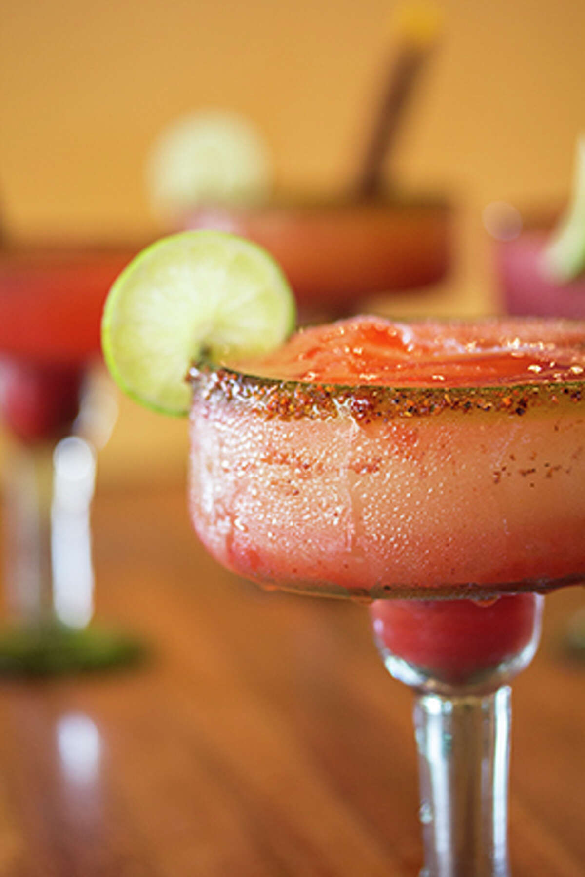 The Chamoy Rita is a recent addition to Tiago's Cabo Grille's flavor-infused margarita menu. The margarita features a line of chamoy in the center with a chewy candy straw on the side.