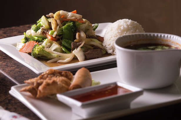 Phad pak (stir-fried veggies) lunch special with soup, crab rangoon, and an eggroll from Thai Chili, chosen by Express-News readers as the best Thai restaurant in San Antonio.