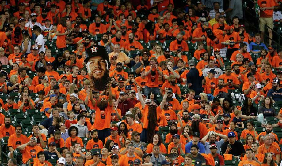The fans in Keuchel's Korner enjoy a strikeout that was part of another superb outing by the Astros ace. Photo: Karen Warren, Staff / © 2015 Houston Chronicle