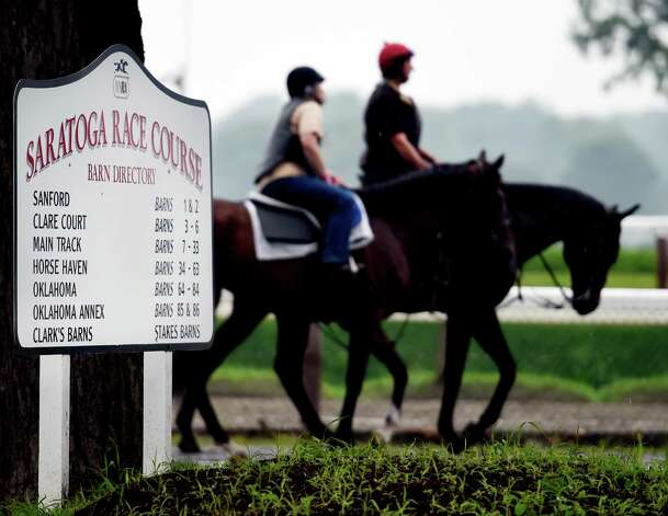 A horse is lead to a muddy main track for training at Saratoga Race Coruse Wednesday morning, July 1, 2015, in Saratoga Springs, N.Y.  (Skip Dickstein/Times Union) Photo: SKIP DICKSTEIN