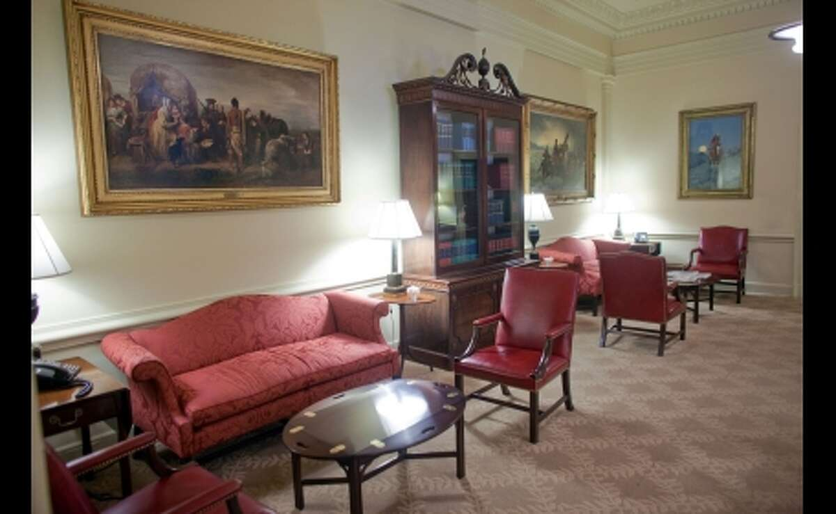The West Wing Reception Room: Visitors who come to see the President, Vice President, and White House staff pass through the West Wing Reception Room. Renovated by President Richard Nixon in 1970 into a smaller, more intimate receiving room, it houses several paintings from the White House collection as well as a 1770 mahogany bookcase, one of the oldest pieces of furniture in the White House.