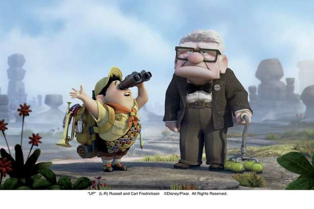 """UP"" -- Russell (left), Carl Fredricksen (right) ©Disney/Pixar.  All Rights Reserved."