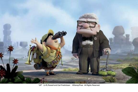 """UP"" -- Russell (left), Carl Fredricksen (right) ©Disney/Pixar.  All Rights Reserved."