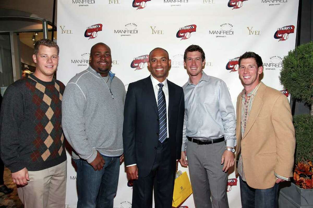 GREENWICH, CT - NOVEMBER 12: (L-R) Andrew Bailey, Bobby Bonilla, Mariano Rivera, Kevin Slowey and Craig Breslow make appearance at Manfredi Jewels on November 12, 2010 in Greenwich, Connecticut. (Photo by Donald Bowers/Getty Images for Manfredi Jewels) *** Local Caption *** Andrew Bailey;Bobby Bonilla;Mariano Rivera;Kevin Slowey;Craig Breslow
