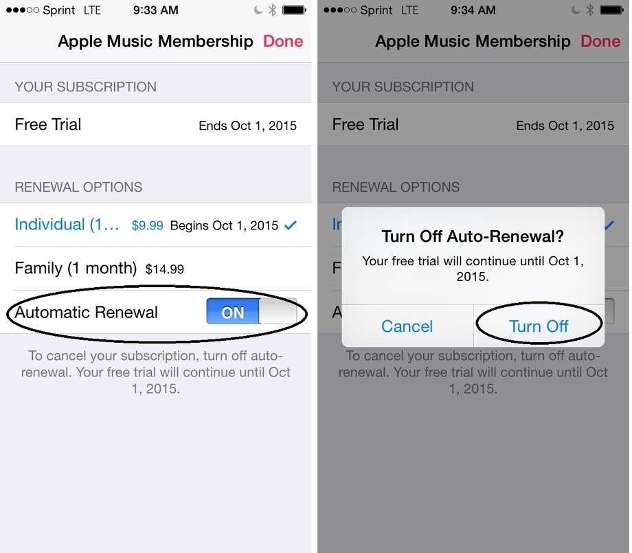 To turn off auto-renewal in Apple Music, switch off Automatic Renewal under Renewal Options (left), then confirm the selection (right). Photo: Screenshots / Screenshots