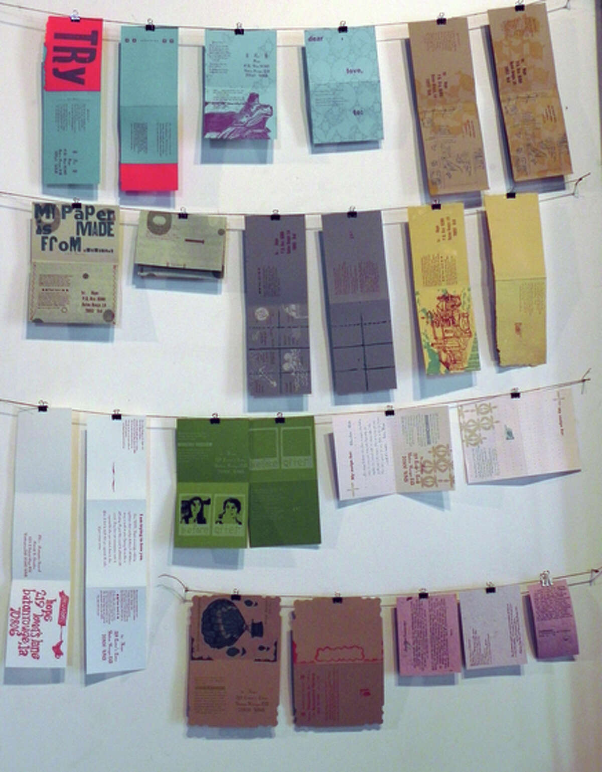 A Wall of Early postcards: Hope Amico trusts that the artistic message will arrive.