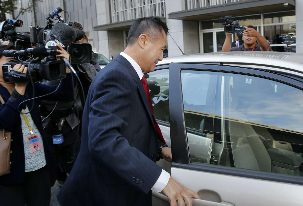 Leland Yee rushed to get into a waiting car as he left the Federal building in San Francisco, Calif. Former State Senator Leland Yee pleaded guilty Wednesday June 1, 2015 to charges of racketeering and admitting he accepted bribes.