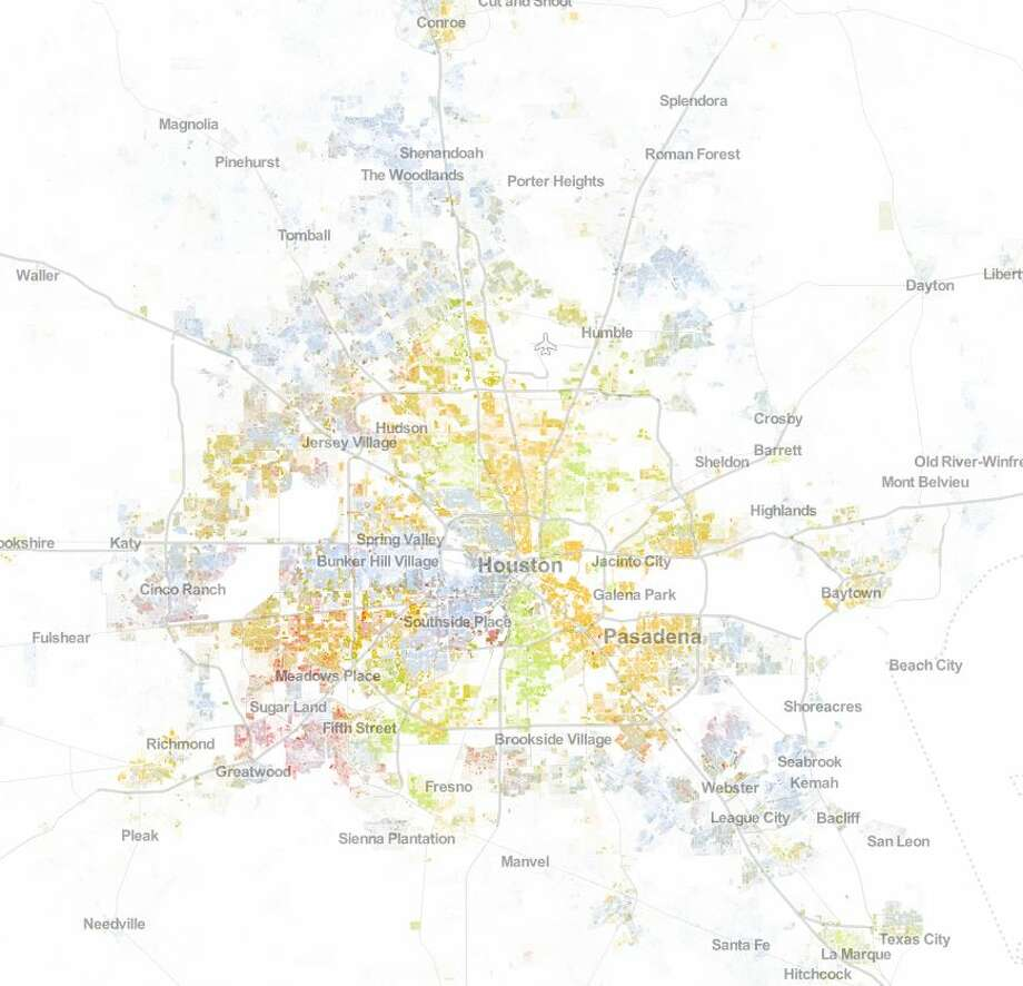Racial Dot Map Uses color codes, the Houston area can be broken down by its racial and cultural divide. Photo: Weldon Cooper Center, Image Copyright,  2013,  Weldon Cooper Center For Public Service,  Rector And Visitors Of The University Of Virginia (Dustin A. Cable,  Creator)