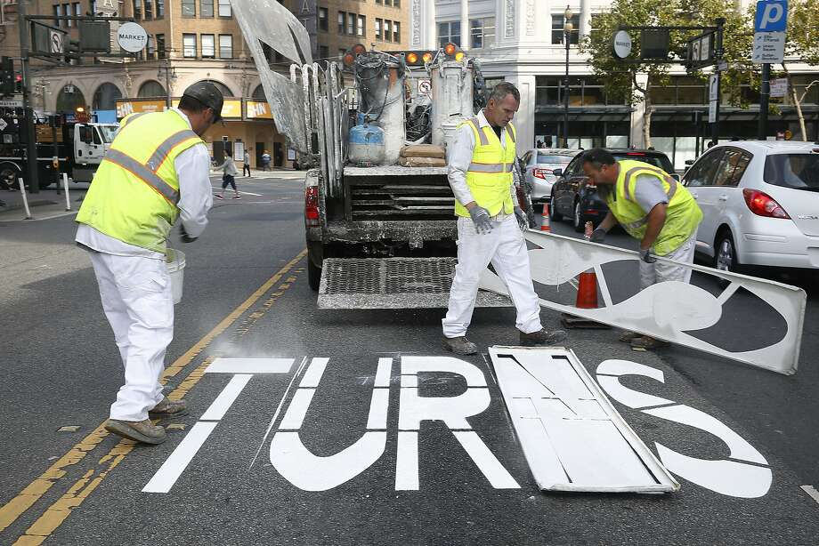 San Francisco Municipal Transportation agency employees prepare to paint arrows and a no turns sign on 6th at Stevenson streets in San Francisco, Calif., on Wednesday, July 1, 2015.  City project Safer Market Street will deter most private vehicle traffic off of Market Street. Photo: Liz Hafalia, The Chronicle