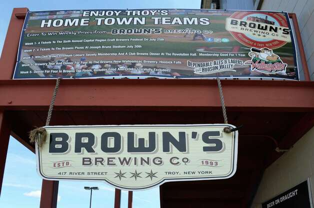 Brown's Brewing Co. signs at Joe Bruno Stadium Wednesday June 24, 2015 in Troy, NY.   (John Carl D'Annibale / Times Union) Photo: John Carl D'Annibale / 00032376A