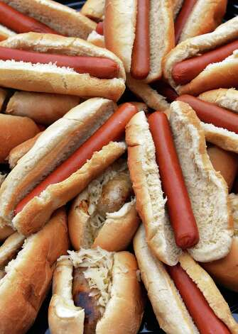 Helmbold hot dogs and Brats in Mastroianni rolls at Joe Bruno Stadium Wednesday June 24, 2015 in Troy, NY.   (John Carl D'Annibale / Times Union) Photo: John Carl D'Annibale / 00032376A