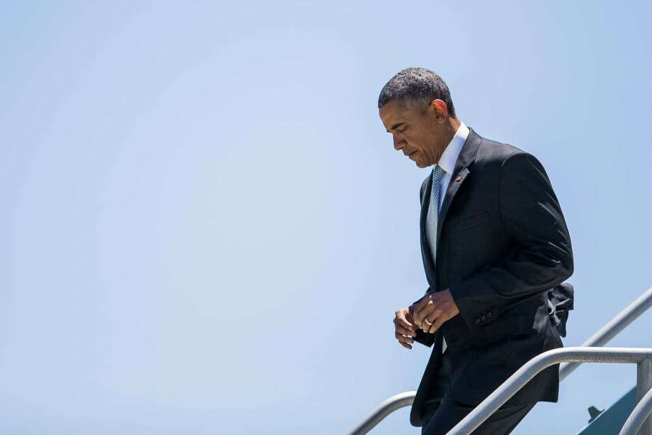 President Barack Obama has lost support from his party's left wing. Some on the left now engage in the kind of Obama conspiracy-against-us talk that has characterized the right. Photo: ZACH GIBSON /New York Times / NYTNS