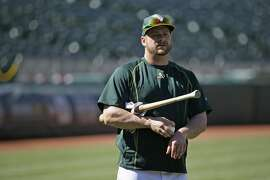Oakland Athletics catcher Stephen Vogt before the start of their baseball game against the Colorado Rockies Monday, June 29, 2015, in Oakland, Calif. (AP Photo/Eric Risberg)