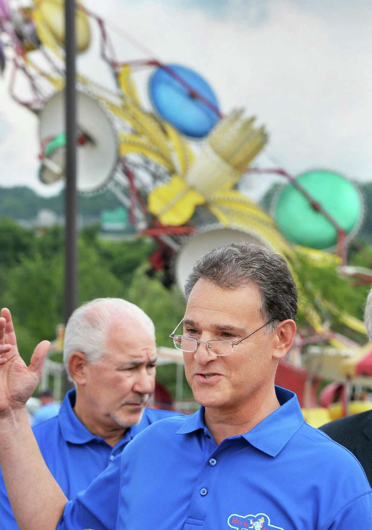 CEO Jeff Sperbers, left, and brother and CFO Reid Sperbers during the Grand opening of Huck Finn's Playland Wednesday July 1, 2015, Albany, NY. (John Carl D'Annibale / Times Union)
