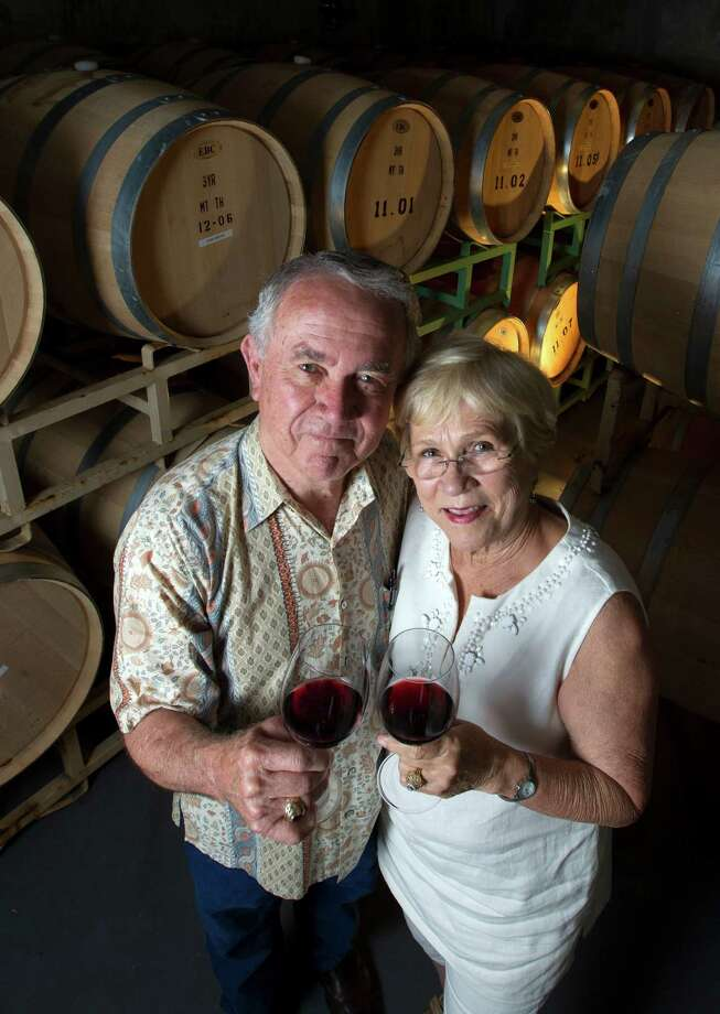 Raymond and Gladys Haak pose for a portrait at the Haak Winery on  in Santa Fe. What began in 1969 as an anniversary gift of grapevines from Gladys to her husband has grown to a full-fledged business.  ( J. Patric Schneider / For the Chronicle ) Photo: J. Patric Schneider, Freelance / © 2013 Houston Chronicle
