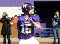 Westhill quarterback Pete Cernansky drops back to pass during a game against Staples on Nov. 12, 2011.