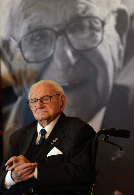 Nicholas Winton is honored  at Prague Castle, where he received The Order of the White Lion last year. Photo: Getty Images / AFP