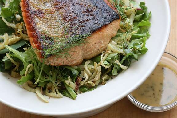 Crispy salmon with thyme butter and roasted fennel salad styled by Tara Duggan in San Francisco, Calif., on Wednesday, July 1, 2015.