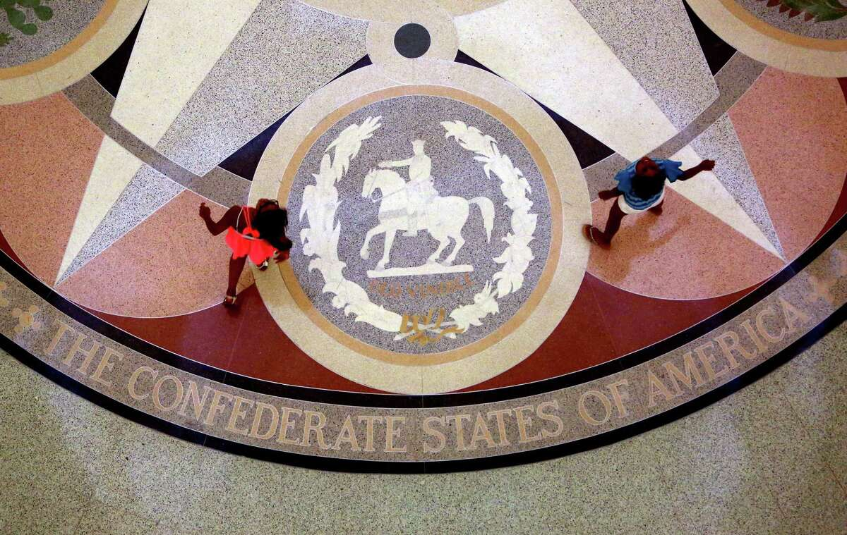 The Confederate seal is one of six seals permanently emblazoned on the floor of the Capitol Rotunda.