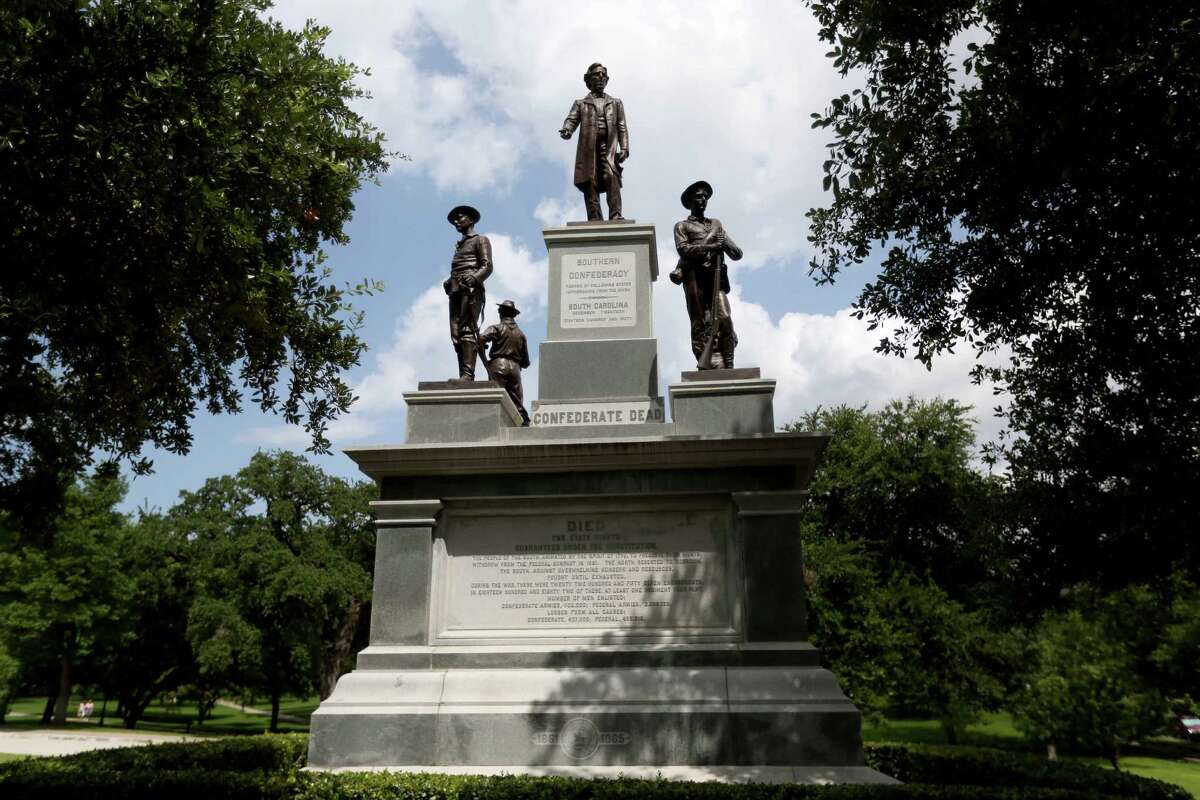 An imposing memorial to Confederate soldiers greets visitors on the south grounds of the Capitol.