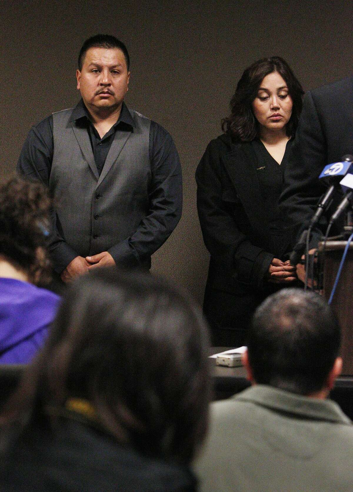 Rodrigo Lopez (l to r) and Sujay Cruz, parents of 13-year-old Andy Lopez Cruz, who was shot October 22 by a Sonoma County sheriff's deputy, stand during a press conference on Monday, November 4, 2013 in San Francisco, Calif. A federal lawsuit has been filed by the family of 13-year-old Andy Lopez Cruz who was fatally shot on October 22 by a Sonoma County sheriff's deputy.
