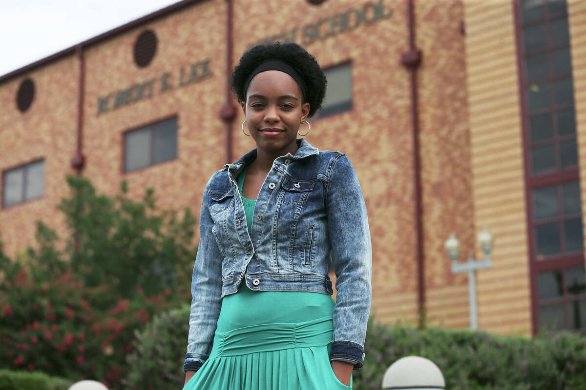 Robert E. Lee High School student Kayla Wilson stands in front of her school. She started a petition last summer to rename the school.
