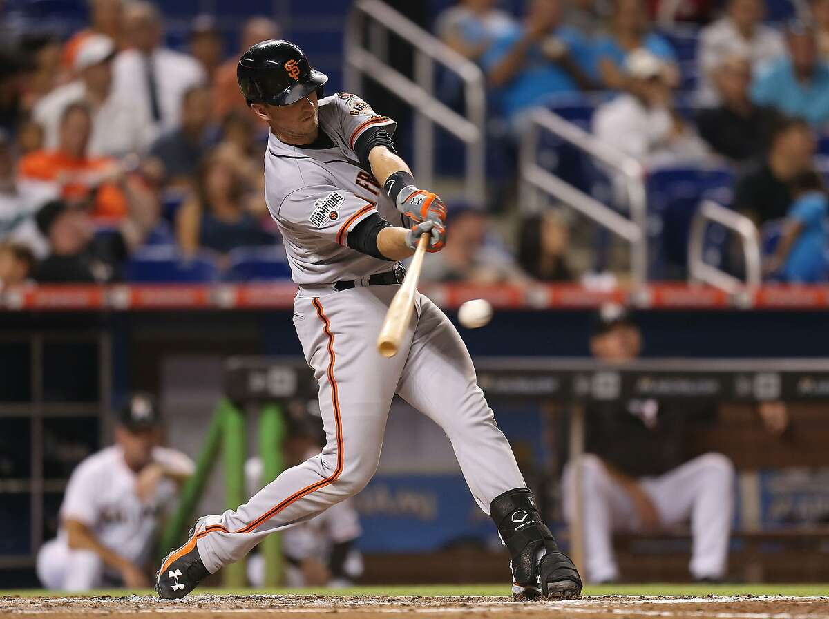 MIAMI, FL - JULY 01: Buster Posey #28 of the San Francisco Giants bats during the fourth inning of the game against the Miami Marlins at Marlins Park on July 1, 2015 in Miami, Florida. (Photo by Rob Foldy/Getty Images)