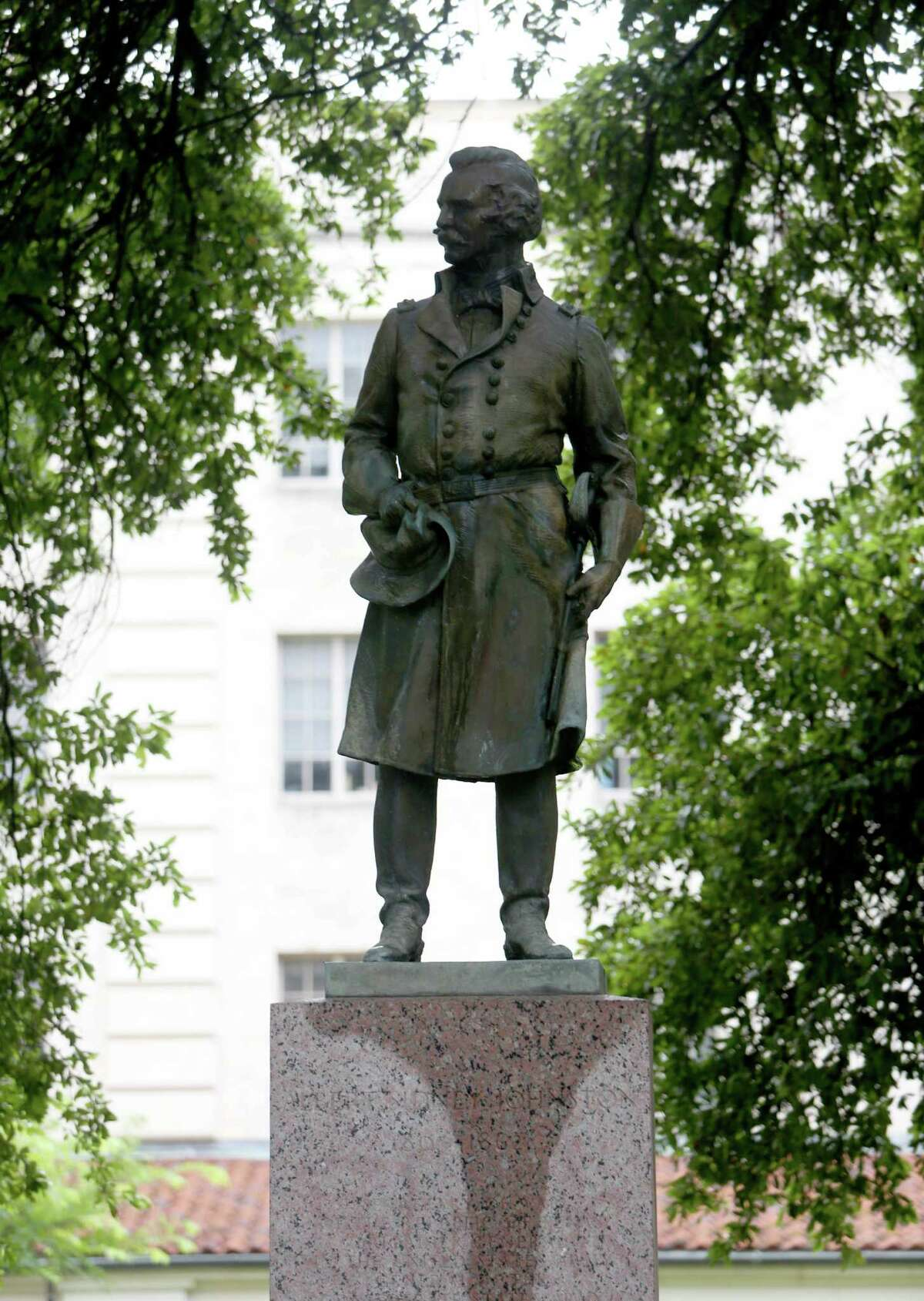Statue of Albert Sidney Johnston 1803-1862, Commander of the U.S. Army, Confederate States Army, on the main campus of the University of Texas at Austin Tuesday, June 30, 2015, in Austin, Texas.