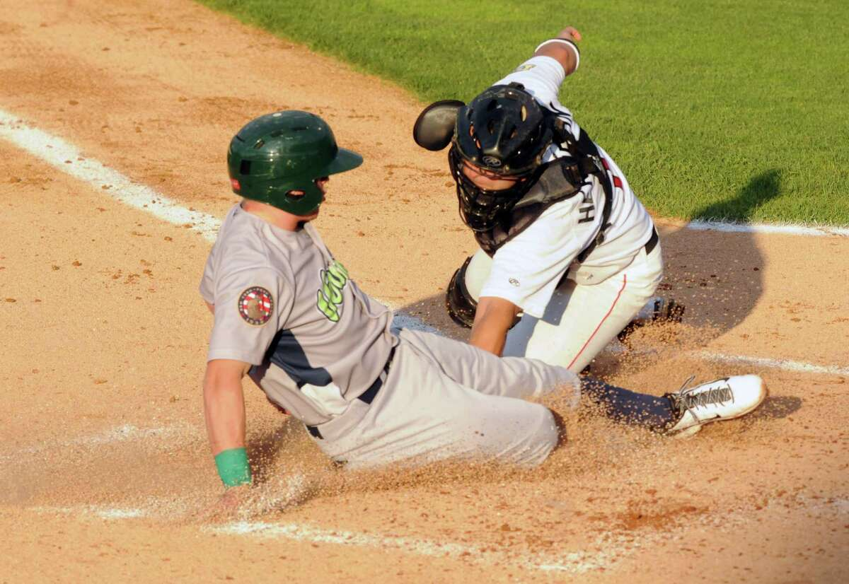 Cat's catcher Anthony Hermelyn gets the out at home plate during the Tri-City ValleyCats game against the Vermont Lake Monsters at Joe Bruno Stadium on Wednesday July 1, 2015 in Troy, N.Y. (Michael P. Farrell/Times Union)