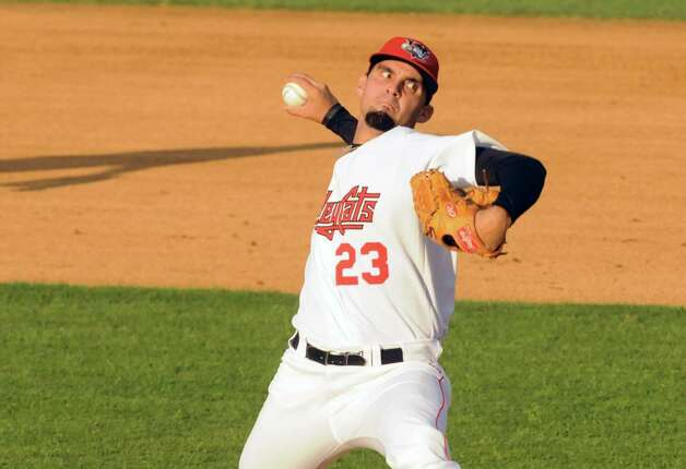 Cat's pitcher Agapito Barrios deals a pitch during the Tri-City ValleyCats game against the Vermont Lake Monsters at Joe Bruno Stadium on Wednesday July 1, 2015 in Troy, N.Y.  (Michael P. Farrell/Times Union) Photo: Michael P. Farrell / 00032413A