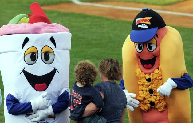 Sonic restaurant mascots mingle with attendees during the Tri-City ValleyCats game against the Vermont Lake Monsters at Joe Bruno Stadium on Wednesday July 1, 2015 in Troy, N.Y.  (Michael P. Farrell/Times Union) Photo: Michael P. Farrell / 00032413A