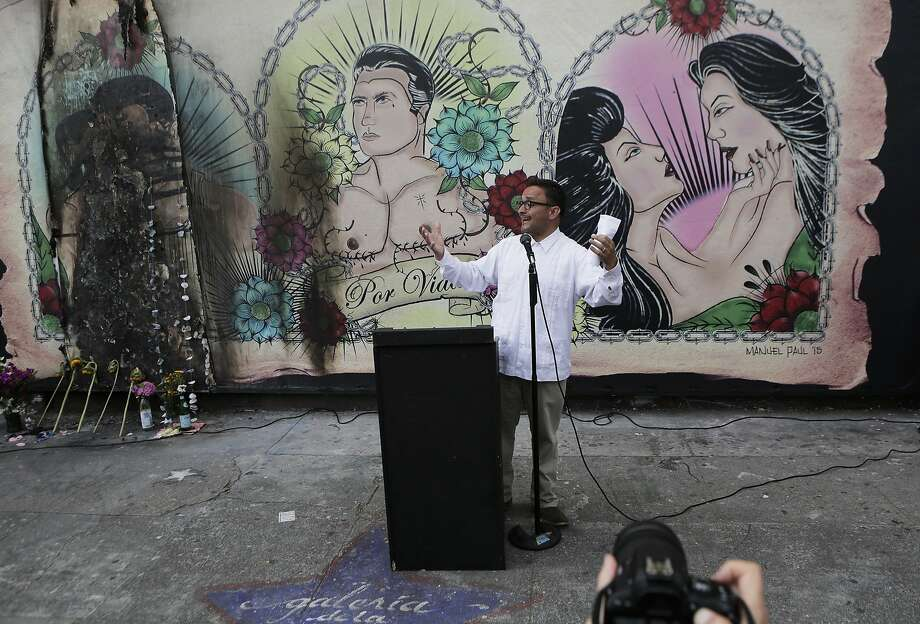 District Supervisor David Campos speaks to the crowd during a rally on Wednesday, July 1, 2015 at the mural in the Mission District in San Francisco, Ca.. The mural at the Galeria de la Raza is in celebration of the LGBT and Latino culture in the Mission District. Photo: Dorothy Edwards, The Chronicle