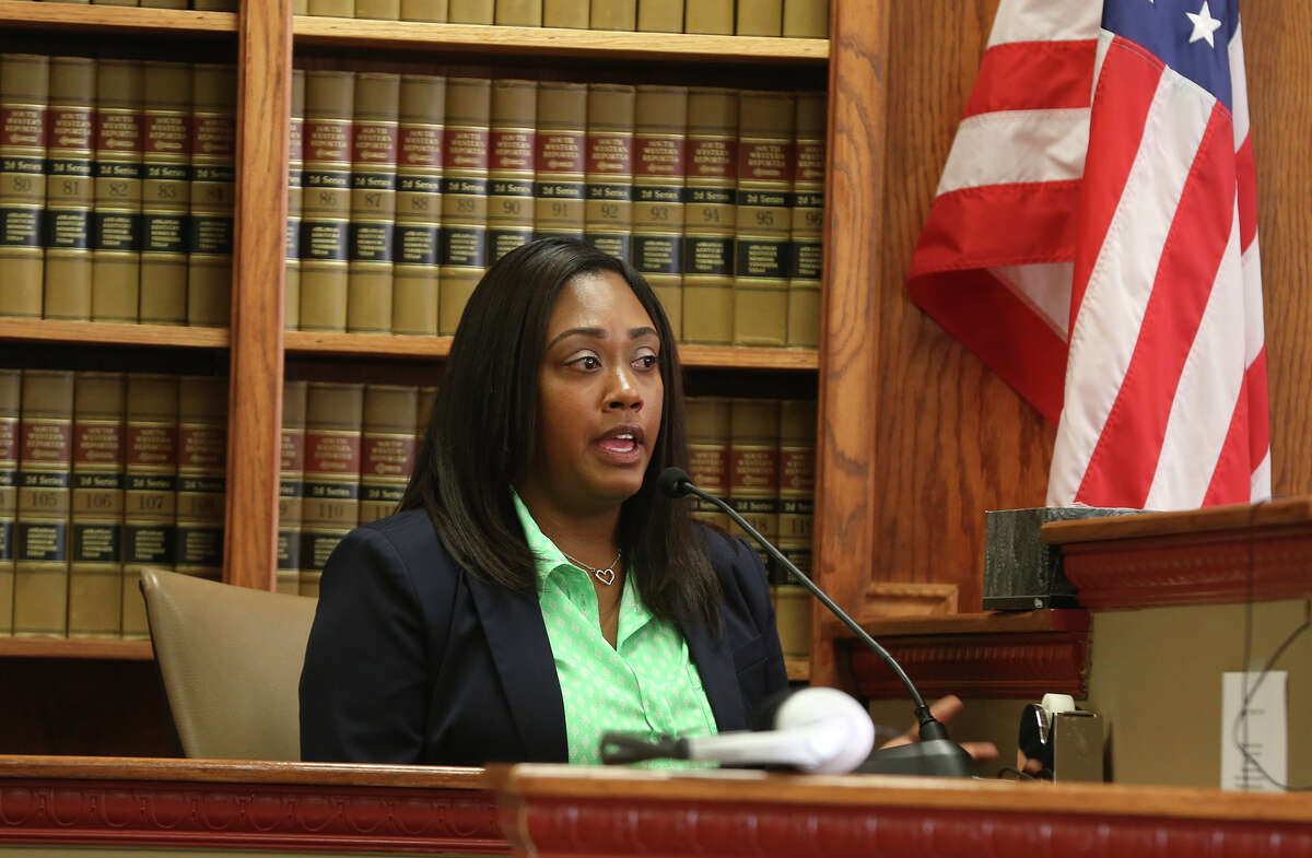 Allison Flood Lesh speaks during a hearing in District Court.