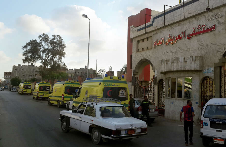 Ambulances wait in front of the El Arish International hospital because the road to Sheikh Zuweid, where numerous assaults against the army were ongoing, was not safe. Photo: Muhamed Sabry /Associated Press / AP