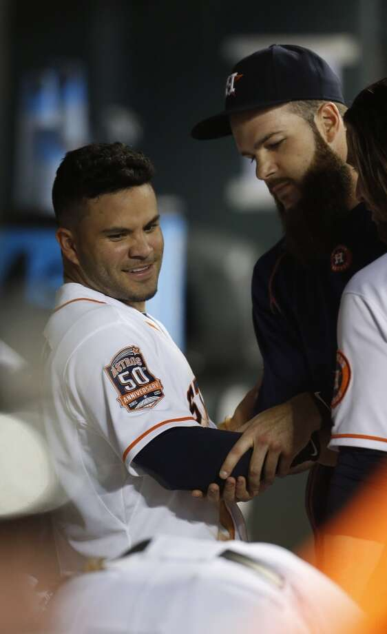 "The Astros' Jose Altuve (left) and Dallas Keuchel earned high marks among AL managers in Baseball America's annual ""Best Tools"" survey. Photo: Karen Warren, Houston Chronicle"
