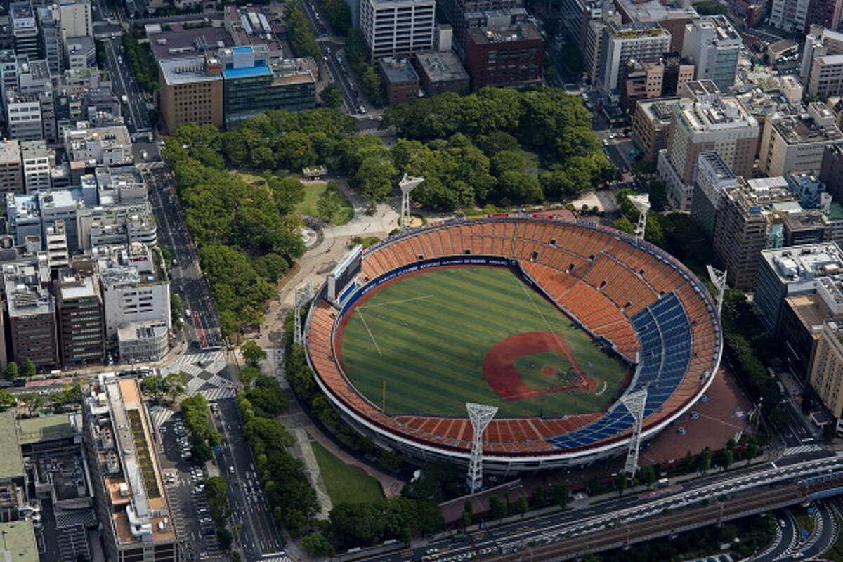 Japan, Kanto Region, Kanagawa Prefecture, Yokohama, Aerial view of Yokohama Stadium.