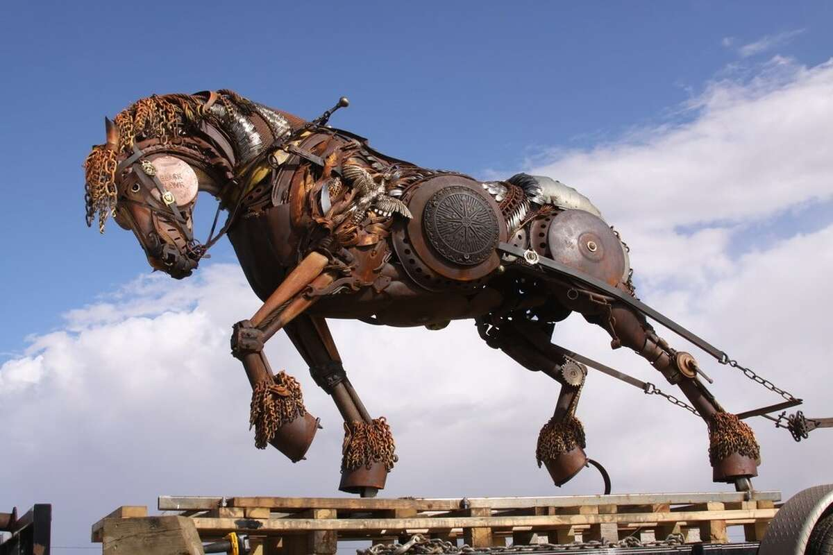 A working horse, named Black Hawk, sculpted by John Lopez.