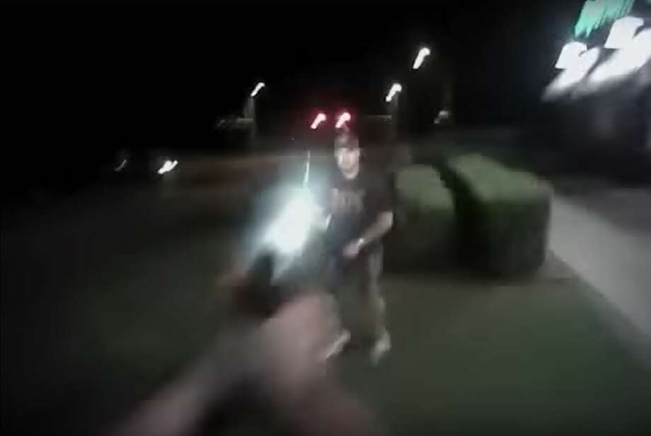 Graphic body camera footage shows Palestine Police Sgt. Gabriel Green and Officer Kaylynn Griffin confronting James D. Bushey, 47, in the Applebee's bathroom on May 31 before leading him outside. The officers fatally shot Bushey after he brandished what appeared to be a handgun, but what was in fact a BB gun. Photo: Screenshot/YouTube
