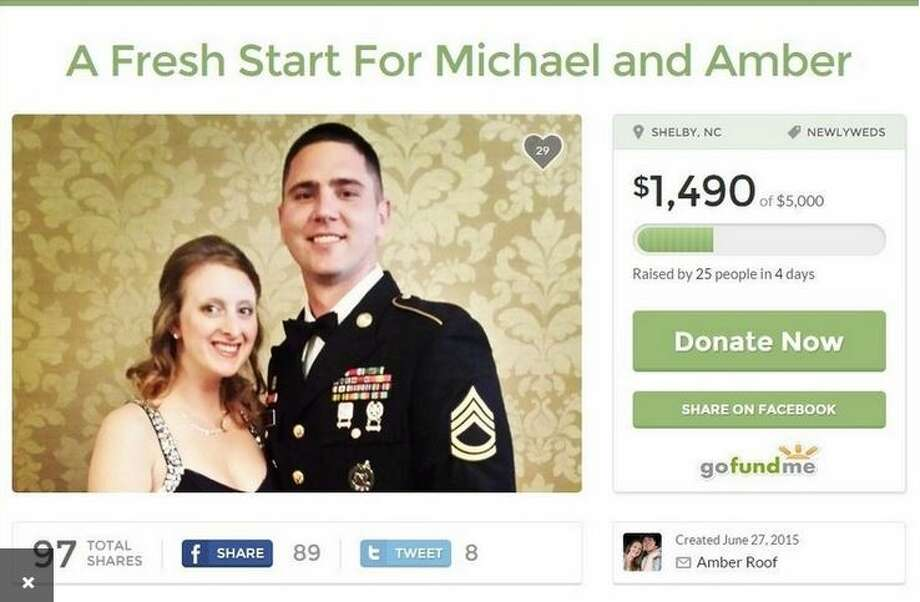 The Go Fund Me page set up June 27, 2015, for Amber Roof and her fiance, was removed July 2, 2015. (Screen shot)