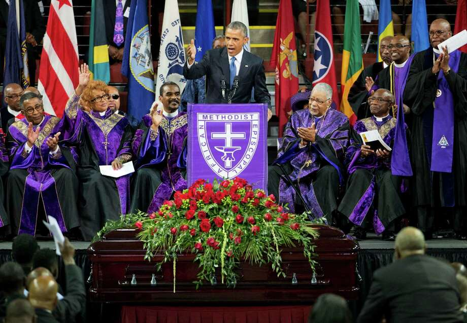 President Barack Obama delivers the eulogy during his funeral service for the Rev. Clementa Pinckney. Love him or hate him, the president delivered a passionate tribute, according to a reader. Photo: David Goldman /Associated Press / AP