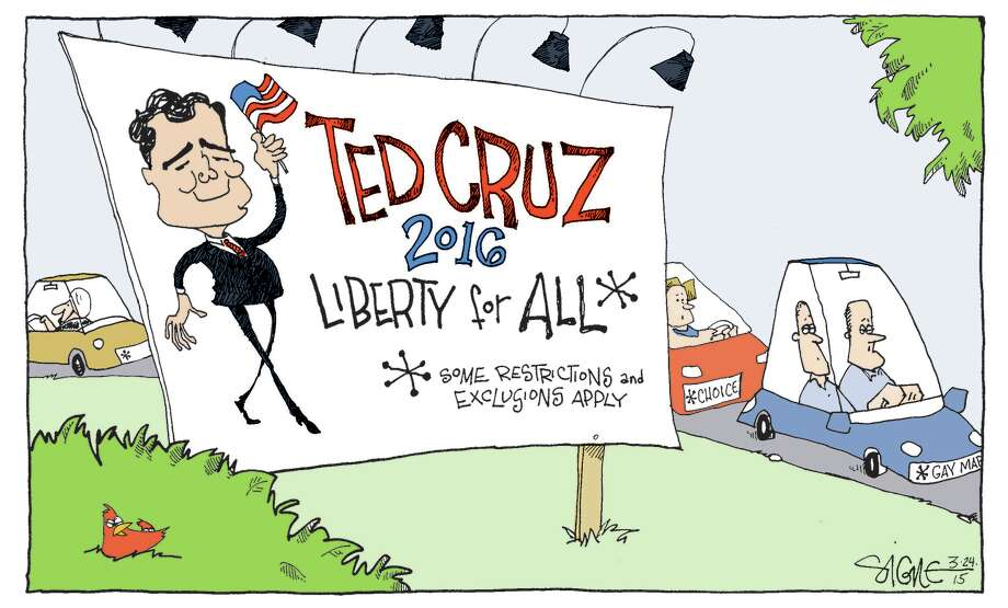 "Cartoonist Signe Wilkinson says he adores Ted Cruz's ""glass jaw."" Photo: HANDOUT, Washington Post / The Washington Post"