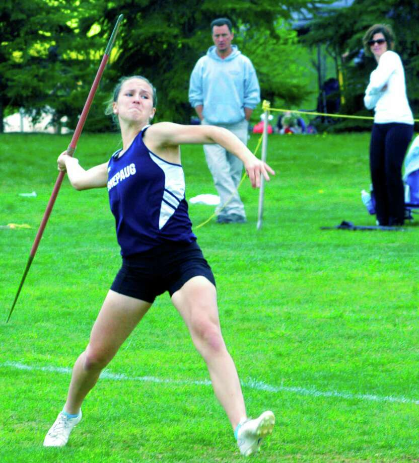 The spring sports season climaxed recently with Spartan junior Samantha Moravsky capturing the spotlight with her Berkshire League and state Class S title efforts in the javelin. The Region 12 girls track standout is shown here unleashing a strong throw during the May 23 Berkshire meet in Litchfield, as her parents, Joe and Robin Moravsky, lend their support. Samantha went on to register high finishes in the satate open and New England championship meets. For more Shepaug boys and girls track photos, as well as images from the Spartan boys tennis and golf teams, visit www.newmilfordspectrum.com. Photo: Norm Cummings / Hearst Connecticut Media / The News-Times