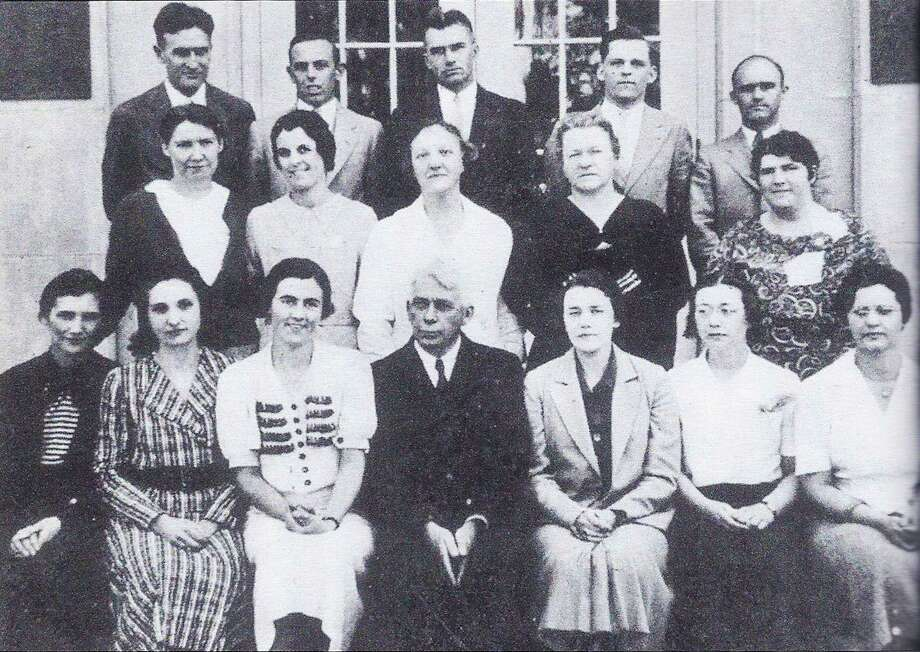 John Pettiobne was an iconic figure in New Milford public education through much of the first half of the 20th century, including service for many years as the town's first superintendent of schools. Pettibone is seen here, front and center, with faculty at New Milford High School in 1934. Among those shown here in front of what is now the Catherine Lillis Administratiion Building to make their own significant impact on New Milford education were Theo Merwin Holt, second from the left, front row, who was an English teacher at NMHS for more than three more decades after this photo; Catherine Lillis, second from the left, second row, who was to teach and then serve as an administrator for many years, and for whom the Lillis Administration Building is named; Harold Hunt, back left, for many decades the school's music and choral director, as well as holding th esame positions for the First Congregational Church; Weldon R. Knox, second from the left, back row, who was to eventually serve as superintendent; and Ray Lumley, back right, who was perhaps the most successful Green Wave boys' basketball coach ever. Those who would like to loan or contribute a photo from any of the Greater New Milford-area towns should bring it to Norm Cummings at the Greater New Milford Spectrum office at 45B Main St. or email ncummings@newstimes.com. If the photo is to be returned, please leave a phone number and mailing address. Photo courtesy of New Milford High School Photo: /