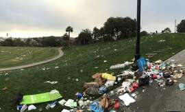 Dolores Park  was littered with trash on the morning of Sunday, June 28, after Gay Pride festivities took over the park the day before.
